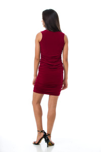 Back view of the Tween Girls Burgundy Ruched Fitted Dress in Longer Length.