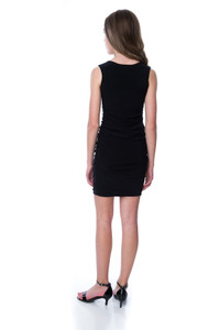 Back view of the Tween Girls Black Ruched Fitted Dress in Longer Length.