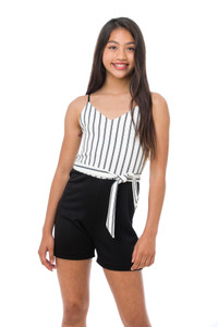 A close up view of the Tween Girls Stripe Romper with Sash  in a new style.