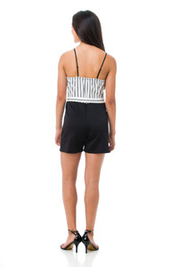 Back view of the Tween Girls Stripe Romper with Sash.