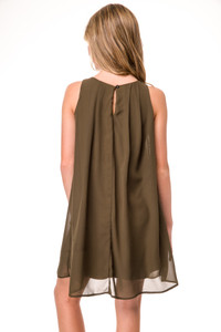 Tween Girls Chiffon A Line Dress in Olive Green back view.