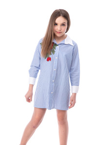 Tween Girls Blue and White Stripe Dress with Embroidery close up.