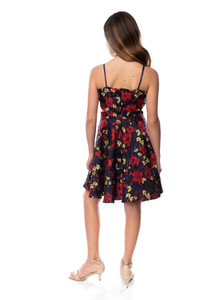 Tween Girls Floral Halter Dress with Open Sides in Longer Length back view.