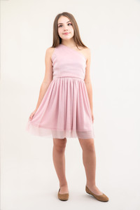 Tween Girls Pink Glitter One-Shoulder Skater Dress in Longer Length.