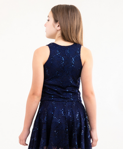 Back view of the Tween Girls Navy Sequin Lace Top.