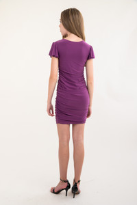 Back view of the Tween Girls Plum Pale Ruched Flutter Sleeve Dress in Longer Length.