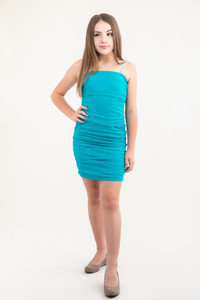 Tween Girls Teal Dot Ruched Dress in Longer Length front view.