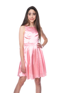 Junior Girls Pink Satin Racer Back Dress in Longer Length.