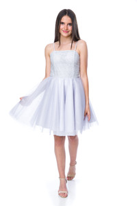 Front view of Tween Girls Silver Sequin Tulle Party Dress in Longer Length.