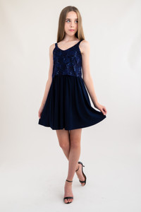 Tween Girls Navy Sequin Lace Skater Dress in Longer Length full view.