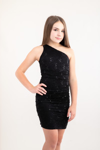 Tween Girls Black Sequin Lace One Shoulder Dress in Longer Length front view.