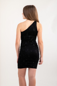 Tween Girls Black Sequin Lace One Shoulder Dress in Longer Length back view.