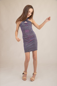 Tween Girls X-Front Fitted Purple Glitter Dress in Longer Length.