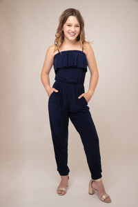 Navy Solid Tiered Jumpsuit.