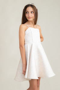 Tween Girls Ivory Jacquard Party Dress in Longer Length close.