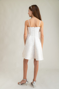 Tween Girls Ivory Jacquard Party Dress in Longer Length back view.