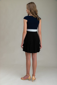 Tween Girls Pleated Navy Color-Block Dress with Cap Sleeve back view.