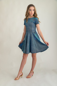 Tween Girls Blue Glitter Short Sleeve Dress in Longer Length.