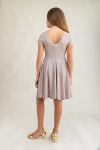 Tween Girls Champagne Glitter Short Sleeve Dress in Longer Length back.