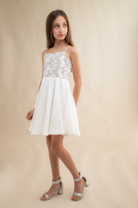 Tween Girls Ivory and Silver Chiffon Dress with Sequins in Longer Length.