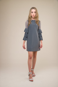Charcoal Tiered Sleeve Dress in Longer Length
