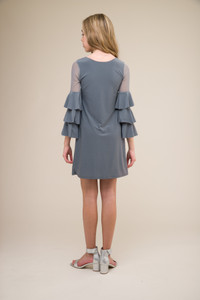 Charcoal Tiered Sleeve Dress in Longer Length back.