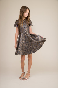 Pewter and Gold Floral Short Sleeve Dress in Longer Length.