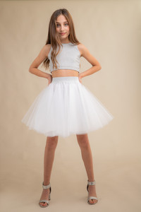 Silver Crop Tank with White Tulle Skirt Set