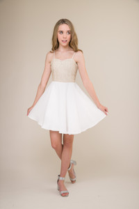 Ivory and Gold Chiffon Dress with Sequins in Longer Length.