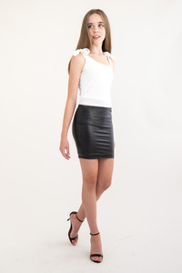 Black Pleather Pencil Skirt.