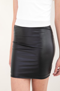 Black Pleather Pencil Skirt close.