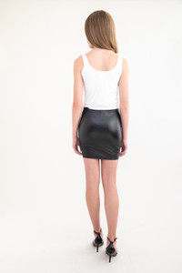 Black Pleather Pencil Skirt back.