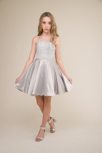 Junior Girls Silver Sequin and Satin Party Dress.