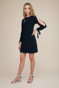 Navy Cold Shoulder Dress with Knot Detail in Longer Length.