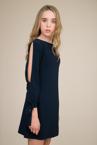 Navy Cold Shoulder Dress with Knot Detail in Longer Length close.