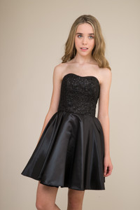 Junior Girls Sequin and Satin Party Dress in Black.
