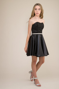 Junior Girls Sequin and Satin Party Dress in Black with Belt.