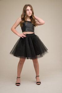 Black Pleather Bustier with Lace Up Back with tulle skirt.
