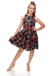 Floral Plaid Racer Back Dress in Longer Length.