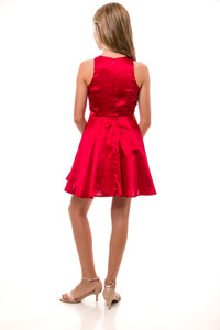 Sequin and Satin Racer Back Party Dress in Ruby Red.