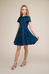 Cobalt and Black Short Sleeve Dress in Longer Length.