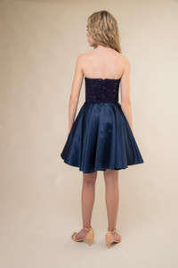 Navy Sequin Lace and Satin Party Dress.