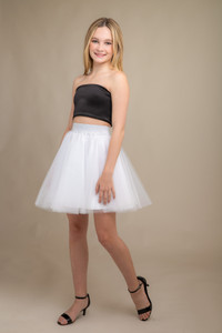 Black Zipper Back Top with White Tulle Skirt Set.