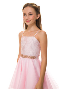 Blush Pink Jacquard Party Dress with Tulle with belt.