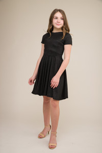 Black Glitter Short Sleeve Dress in Longer Length.