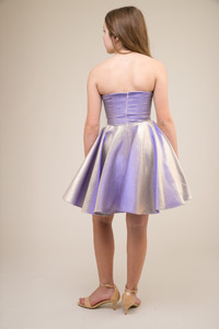 Junior Girls Lilac and Gold Iridescent Party Dress.