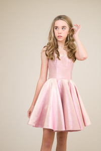 Junior Girls Pink and Gold Iridescent Party Dress.
