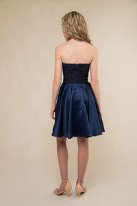 Tween Curve Navy Glitter Lace and Satin Party Dress back.