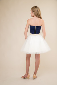 Navy Strapless Top and Tulle Skirt Set back.