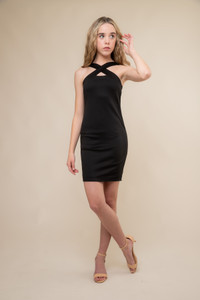 Black X-Front Fitted Dress in Longer Length.